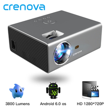 CRENOVA 2019 Newest LED Projector HD 1280*720P Android 6.0OS 3800 Lumens Home Cinema Movie Android Projector With WIFI Bluetooth