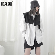 [EAM] Women Loose Fit Black Bandage Asymmetrical Short Vest New V-collar Sleeveless  Fashion Tide Spring Autumn 2021 1T702
