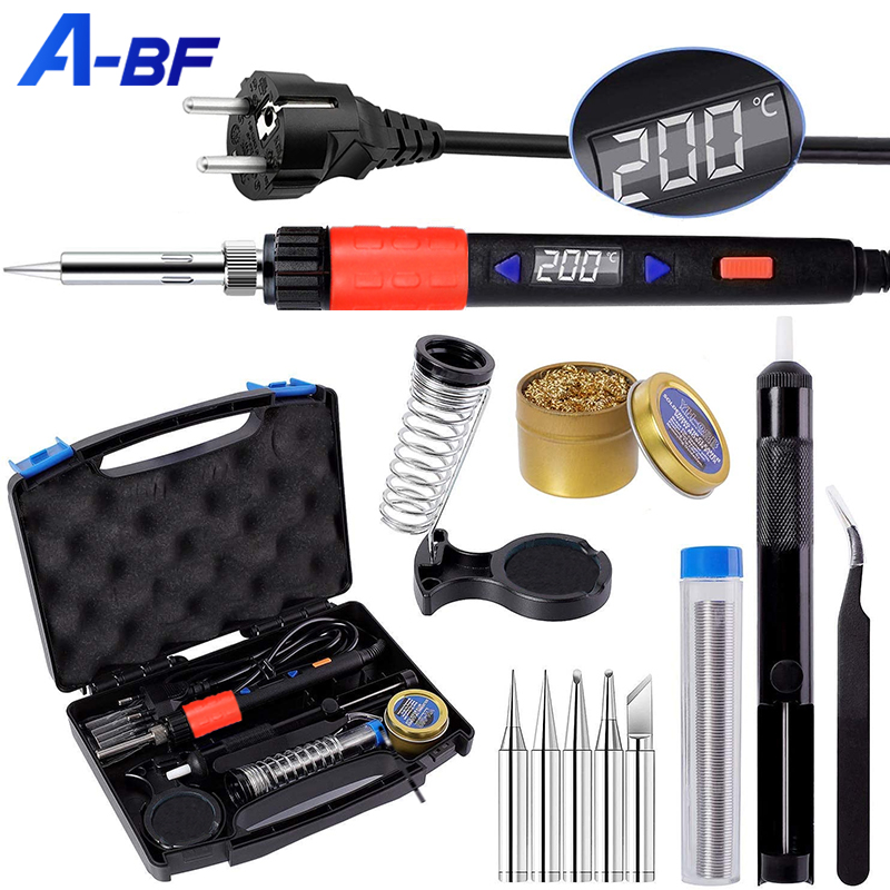 A-BF Soldering Iron Electric Digital Sleep Function 110V 220V Electronic Welding Tools Adjustable Temperature Soldering Tips Kit