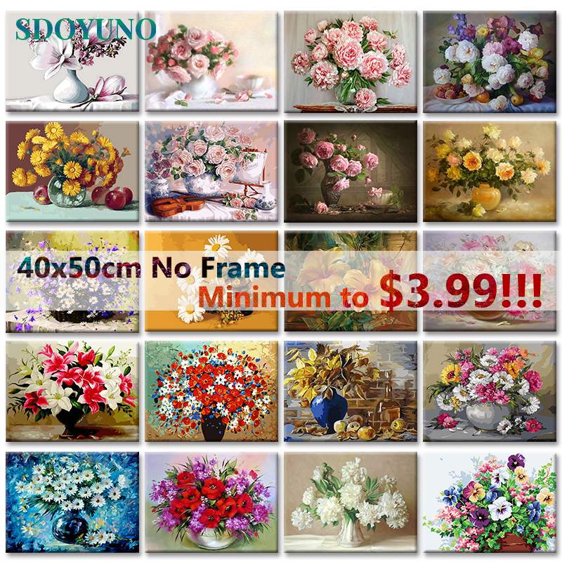 SDOYUNO 40x50cm Oil Painting By Numbers Flowers Nature Pictures By Numbers On Canvas Room Decoration Frameless DIY Digital Paint