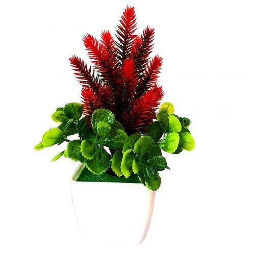 1 шт. искусственный цветок трава искусственный бонсаи Гостиная Офис садовый стол Декор - Цвет: Красный