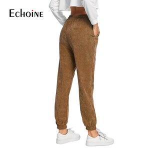 Image 5 - Pantalon en velours côtelé pour femme, taille haute élastique, ample, violet, marine, gris, avec cordon de serrage, automne et hiver, collection décontracté