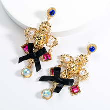 Retro Baroque Style Bow Cross Women Angel Earrings Vintage Pop Brand Jewelry Lace Pearl Earring