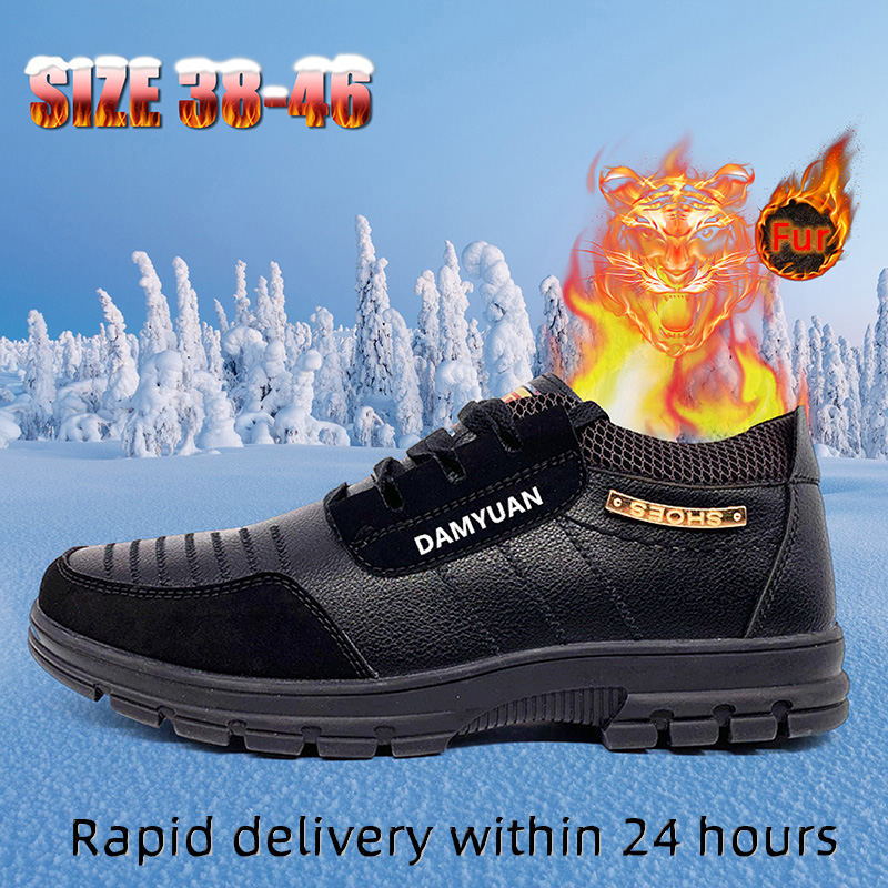 Winter Warm Men's Boot Lace-up Leather Business Men Casual Shoes Non-slip Short Plush Snow Boots Durable Outsole Dropshipping