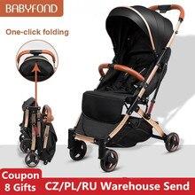 Babyfond 5.8KG Light Stroller Gold Frame Car Portable Carriage Umbrella Children Wagon Newborn Travelling Pram On Plane Gifts