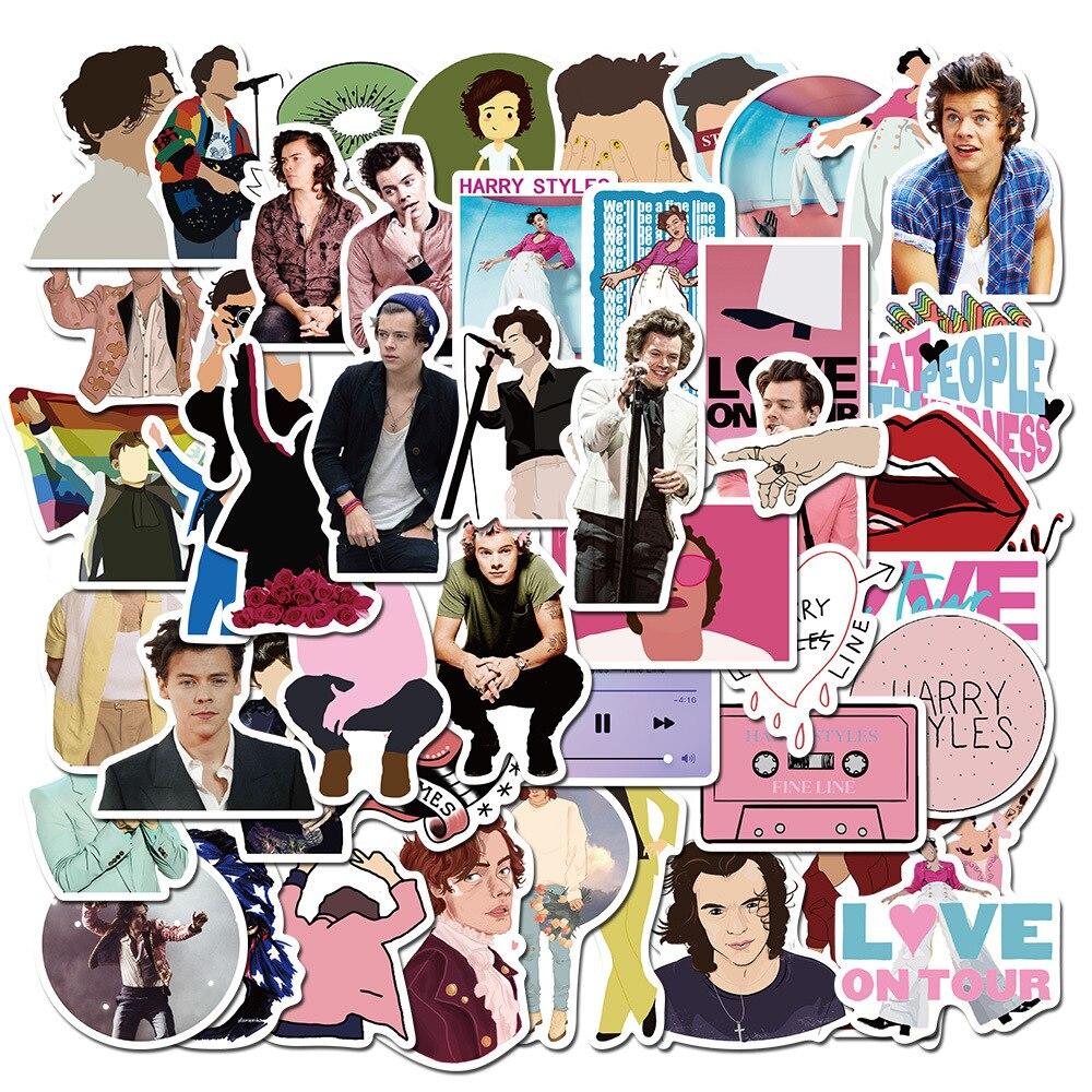 50pcs Harry Style One Direction 1D Fans Kawaii Cute Stickers Luggage Laptop Helmet Waterproof Harry
