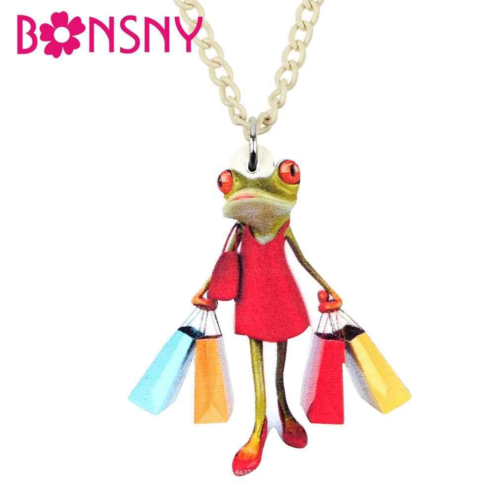 Bonsny Acrylic ช้อปปิ้งกบ Lady สร้อยคอ Choker จี้เครื่องประดับการ์ตูนอะนิเมะสำหรับสาวเลดี้วัยรุ่น Charm แฟชั่น Party ของขวัญ 2019