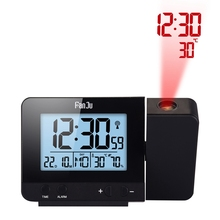 FJ3531 Projection Alarm Clock Digital Date Snooze Function LED Projector Desk Table Thermometer Hygrometer Clock Time Backlight