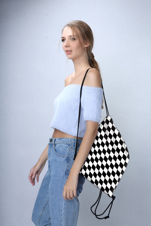 Ha3746a9bff4341b89a360e3a4b4476ccf Deanfun Women 3D Printing Drawstring Bag Black White Geometric Backpack Travel Softback Mens Backpacks 28316