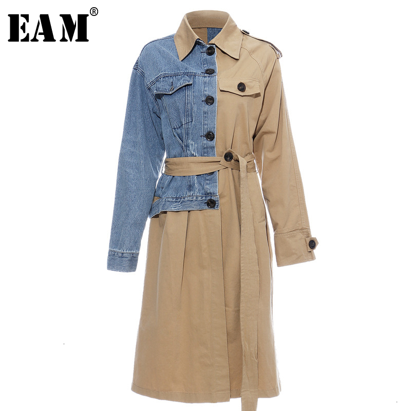 [EAM] Women Denim Splt Joint Temperament Trench New Lapel Long Sleeve Loose Fit Windbreaker Fashion Autumn Winter 2020 1D637