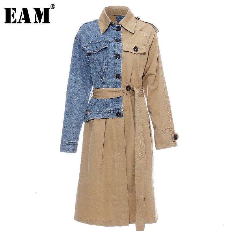 [EAM] Women Denim Splt Joint Temperament   Trench   New Lapel Long Sleeve Loose Fit Windbreaker Fashion Autumn Winter 2019 1D637