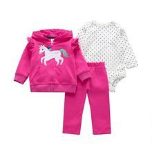 Одежда с рисунком единорога для маленьких девочек пальто с капюшоном и длинными рукавами+ комбинезон в горошек+ штаны, Одежда для новорожденных г., осенний комплект одежды для новорожденных