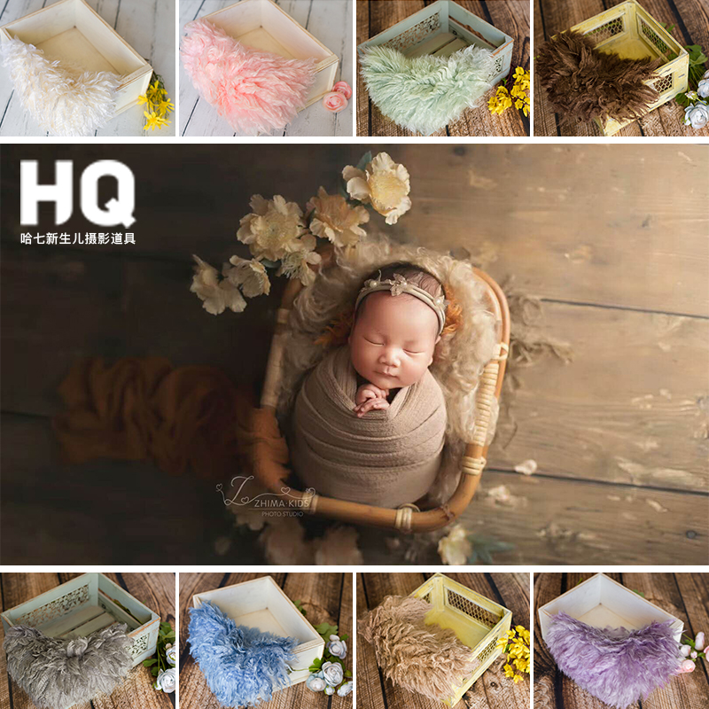 Newborn Photography Props Fur Blanket Newborn Basket Filled Fill Stuffer Photo Shoot Photo Accessories Sheepskin