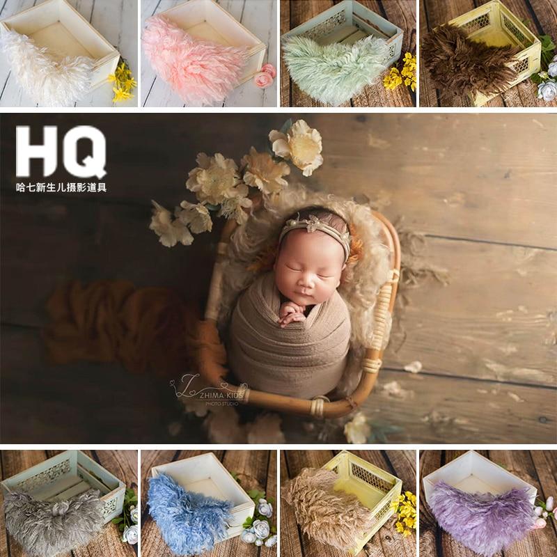 Newborn Photography Props Fur Blanket Newborn Basket Filled Fill Stuffer Photo Shoot Photo Accessories Sheepskin