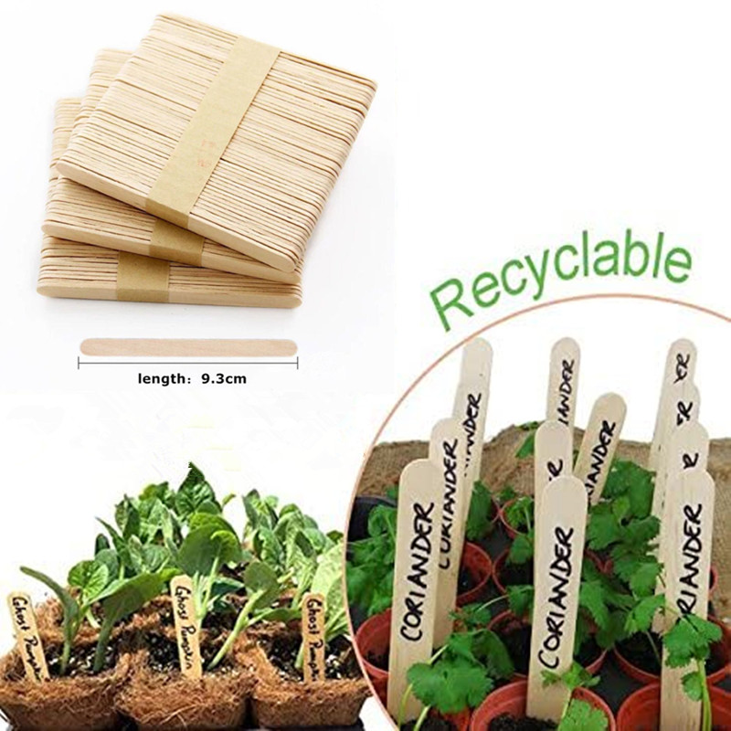 100PCS Wooden Sticks Plant Labels Smooth Popsicle DIY Kids Handwork Art Crafts Toys Wood Ice Cream Sticks