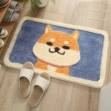 Lovely Cartoon Japanese Akita Dog carpet  flocking mats Home bathroom door absorbent washable mat