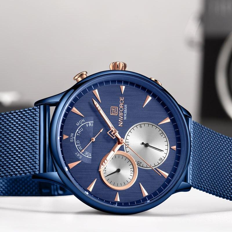 NAVIFORCE Топ бренд класса люкс мужские часы из нержавеющей стали мужские s часы кварцевые спортивные водонепроницаемые мужские наручные часы Relogio Masculino - 4