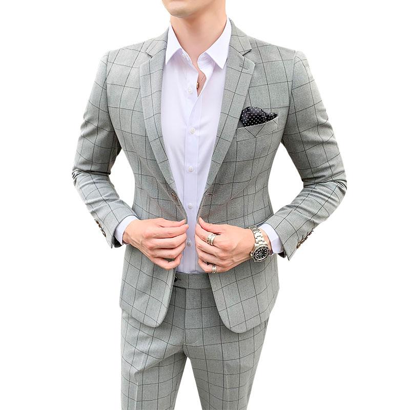 Classic Men Wedding Suit Size 4XL 5XL Business Banquet Men Suit Jacket + Pant Slim Design Plaid Suit Men 2piece Set High Quality