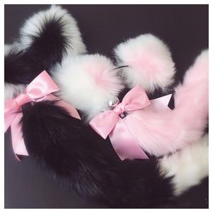 Image 3 - Diademas suaves con orejas de gato y lazo de cola de zorro, tapón Anal de Metal, accesorios de Cosplay eróticos, Juguetes sexuales para adultos para parejas