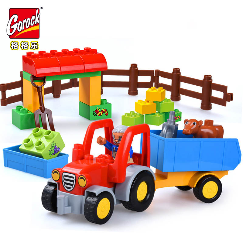 Legoingly Happy Farm Large Building Blocks Sets Truck Car Friends Figures Animal Duplo Educational Bricks Toys For Children Gift