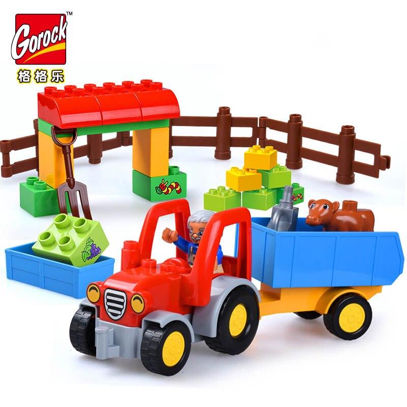 Legoingly Happy Farm Large Building Blocks Sets Truck Car Friends Figures Animal Duplo Educational Bricks Toys For Children Gift