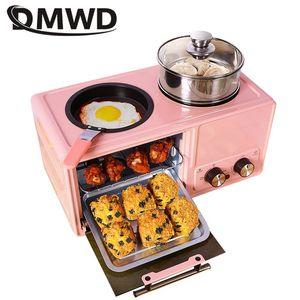 DMWD 4 в 1 бытовая электрическая машина для завтрака, тостер, сковорода, мини-духовка, хлебопечка, пицца, горячий горшок, пароварка, чайник для к...