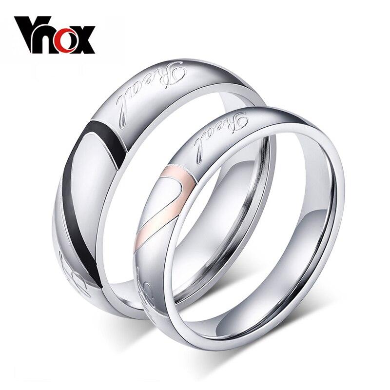 Titanium Steel Forever Love Ring Hommes Femmes Promise Couple Anneaux De Mariage