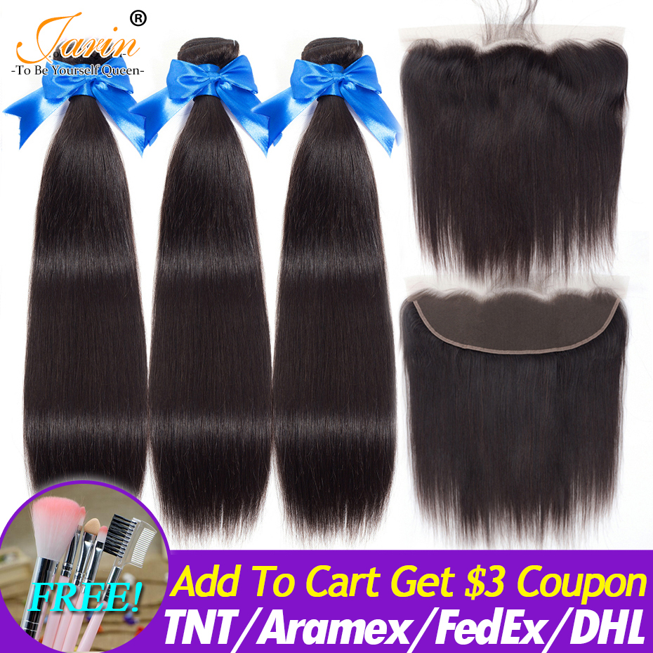 Image 2 - 3 Bundles With Lace Frontal Brazilian Straight Human Hair Weave With 13x4 Lace Closure Remy Jarin Hair Extension Natrual Color-in 3/4 Bundles with Closure from Hair Extensions & Wigs