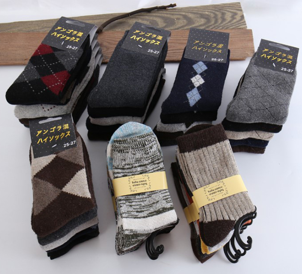 5 Pairs/Lot Men Autumn Winter Socks Warm Fashion Thick Casual Plus Velvet Imitated Woolen Crew Socks