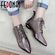 FEDONAS جودة جلد طبيعي عبر ربط تشيلسي الأحذية حزب أحذية رقص امرأة 2020 الخريف الشتاء الدافئة النساء حذاء من الجلد