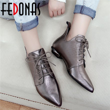 FEDONAS Quality Genuine Leather Cross Tied Chelsea Boots Party Dancing Shoes Woman 2020 Autumn Winter Warm Women Ankle Boots