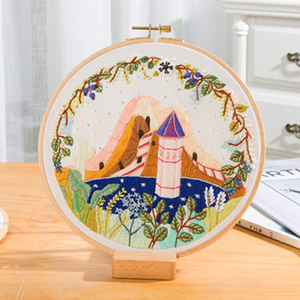 Scenery Patterns Embroidery Kits Beginner DIY Embroidery Hoop Material Package Handcraft Cross Stitch Sewing Supplies bordado