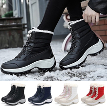 Купить с кэшбэком Women Snow Boots Winter Lace Up Warm Plus Velvet High-top Waterproof  Shoes Women Mid-calf Leather Versatile Flat Snow Boots D25