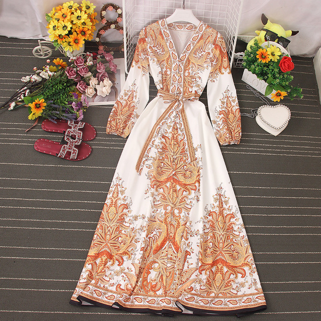 Fitaylor 2021 Spring Women New V Neck Long Sleeve Print Chiffon Lace-up  A-line Dress Casual Waist Slim Vacation Beach Dress 4
