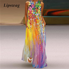 Floral Boho Dress Lady Sleeveless Dress Summer V-Neck Slim A-line Tank Dress Women Fashion Vintage 3D Print Casual Dress Vestido