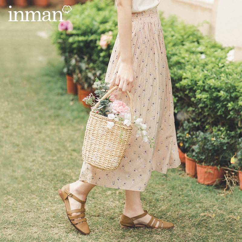 INMAN 2020 Summer New Arrival Crop Length Elastic Waist Floral Print Pleated Sweet Style Women Skirt