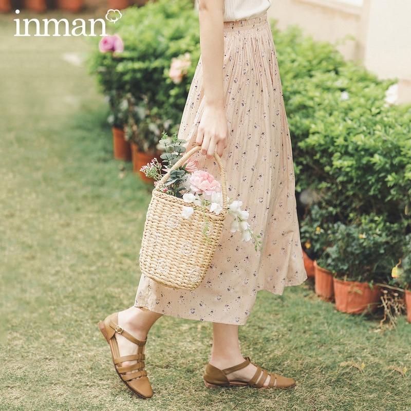 INMAN 2020 Summer New Arrival Crop Length Elastic Waist Floral Print Pleated Sweet Style Women Skirt