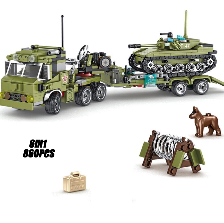 military 6in1 Haulage tractor batisbricks building block army dog figures fighter tank Destroyer antiaircraft gun brick toys image