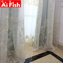 Europe Exquisite Luxury Embroidery Tulle Curtains for Living Room Romantic Gold Thread Embroider White Voile Sheer Tulle DF080-5(China)