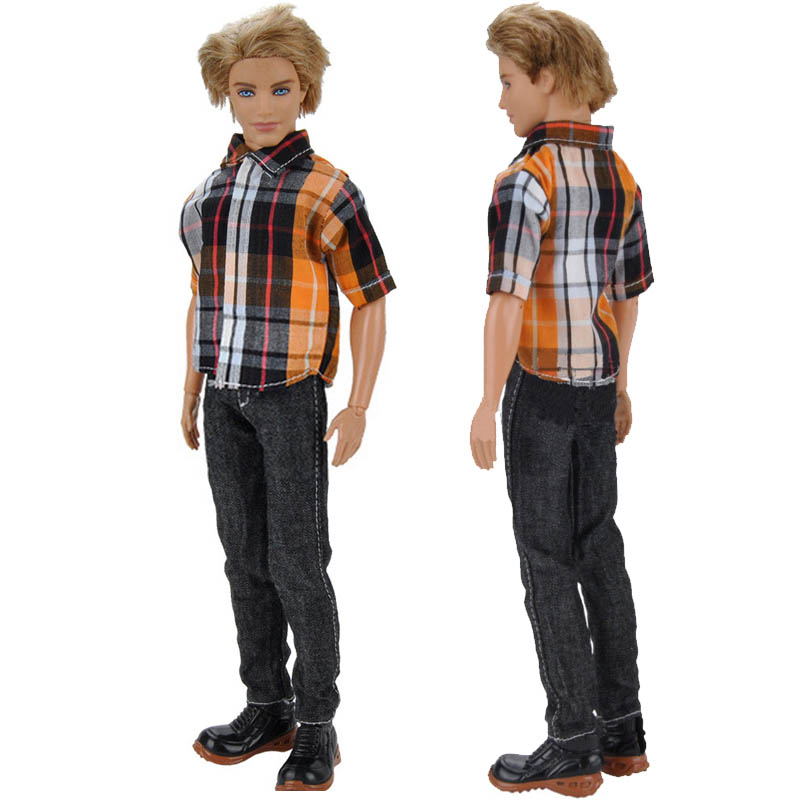 1set 1//6 Doll Clothes White Rainbow Shirt /& Jeans Pants For Ken Doll Clothes Toy