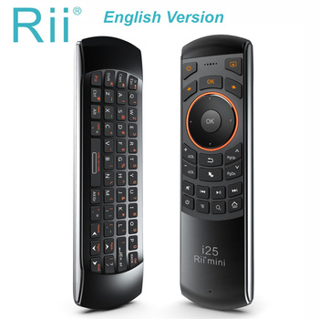 Original Rii mini i25 2.4GHz Air Mouse Remote Control with English Keyboard for PC Smart TV Android TV BOX HTPC IPTV Fire TV original rii i12 2 4g wireless mini english russian keyboard with multi function touchpad for pc laptop android tv box