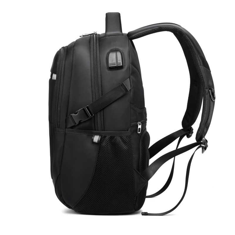 Edison Tersembunyi Anti Theft Zipper 15.6 Inch Pria Sekolah Ransel Laptop Anti Air Tas Travel Multi USB Charger Pria Mochila