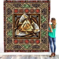 Viking Tattoo 3D Quilt Blanket For Kids Adults Bedding Throw Soft Warm Thin Office Blanket With Cotton Quilt style 3
