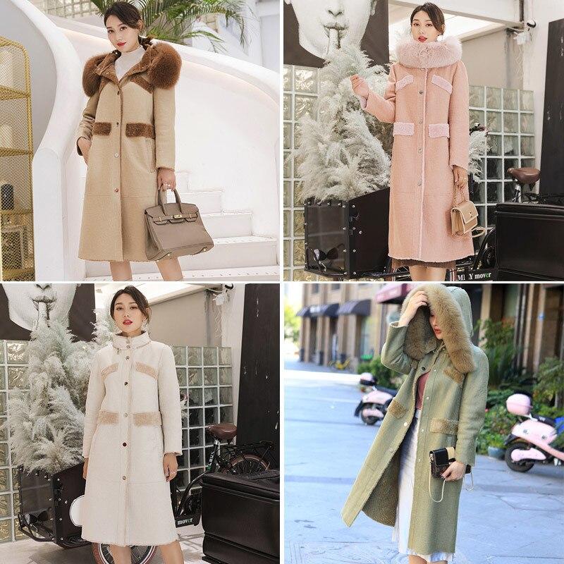 Coat Fur Real Winter Jacket Women Real Fox Fur Collar Natural Wool Fur Coat Female Warm Long Jackets Manteau Femme FY-16 S