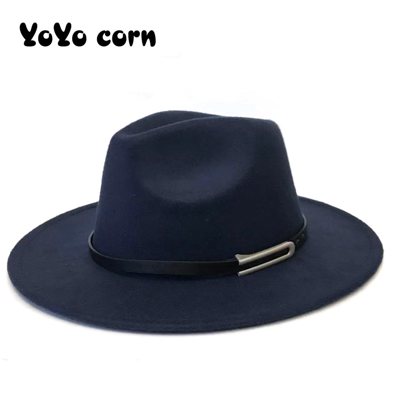 YOYOCORN With Leather Ribbon Gentleman Elegant Lady Autumn Wide Brim Jazz Church Panama Sombrero Cap Women Men Wool Fedora Hat