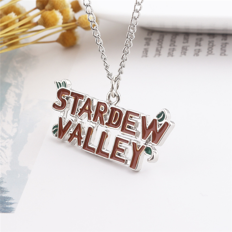 Game Stardew Valley Necklaces for Men Leather Rope Chain Letter Pendant Male Necklaces Women Jewelry for Gifts YT117 image