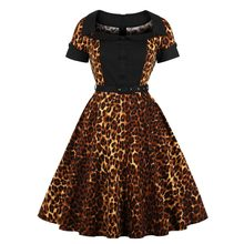 MIXINNI 50s 60s Leopard Printed Autumn Winter Turn-down Collar Plus Size Vintage Vestido Verano Slim Waist Femme 1718