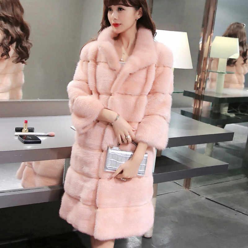 Пушистые женские шубы из искусственного меха тонкие длинные полосы имитация мягкая норка мех воротник стойка розовый белый утепленное пальто плюс размер