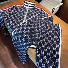 Europe And America Men's Fashion leisure Sports Suit Jacket Zipper Shirt + Spring Men's Printing 2 Sets
