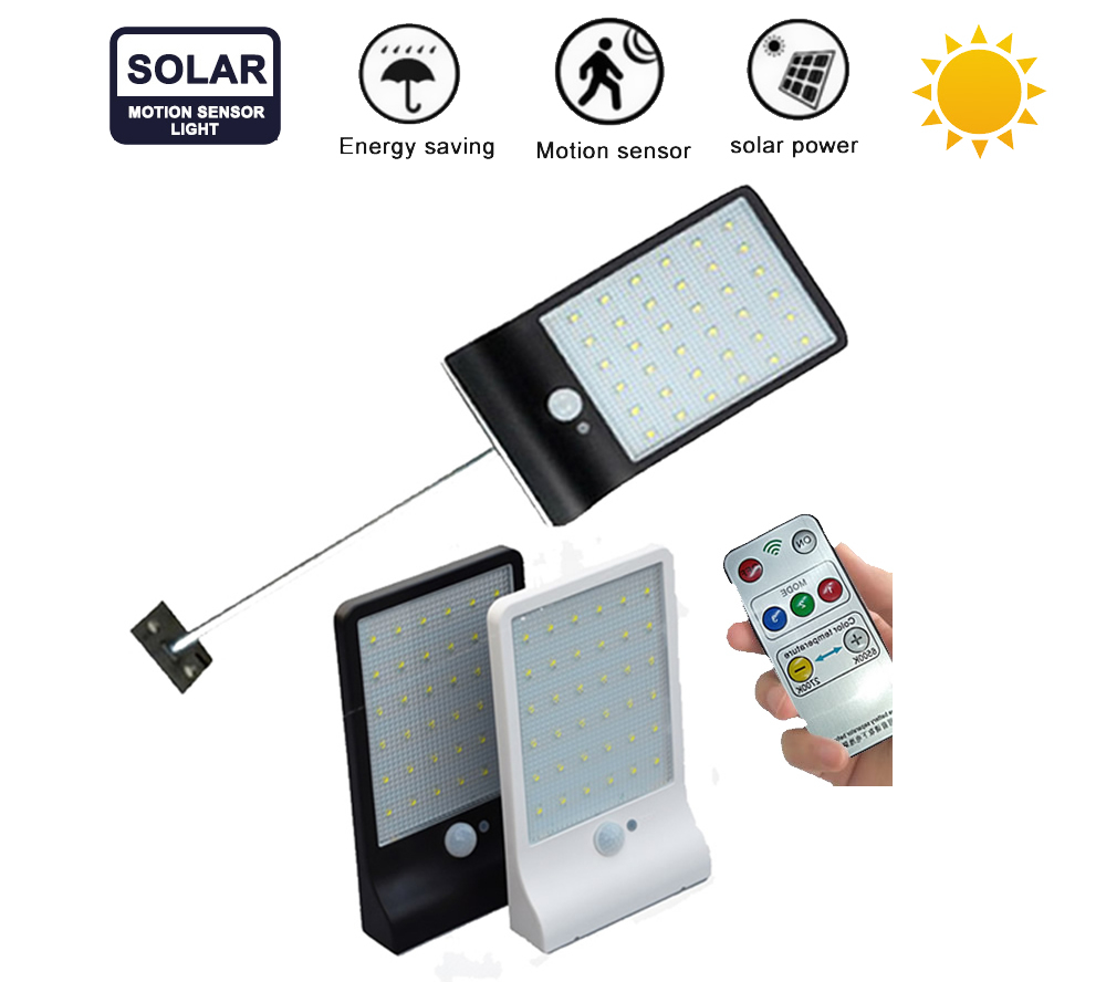 Solar Light 48 LED Auto PIR Motion Sensor With Remote Control Garden Wall Solar Lamp For Outdoor Waterproof Newest Design Remote